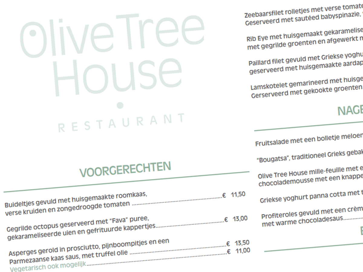 Olive Tree House Menu